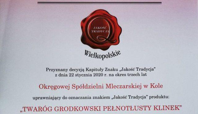 """Twaróg grodkowski pełnotłusty klinek z certyfikatem """"Jakość Tradycja"""""""